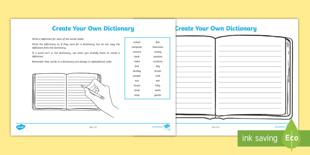 Create Your Own Dictionary - Create Your Own Dictionary