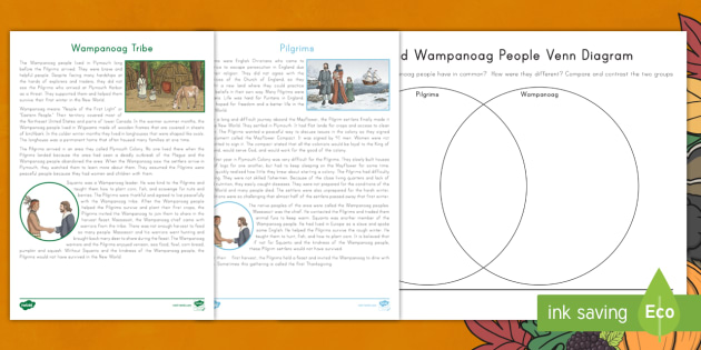 Pilgrims And Wampanoag Peoples Reading Sheets And Venn Diagram