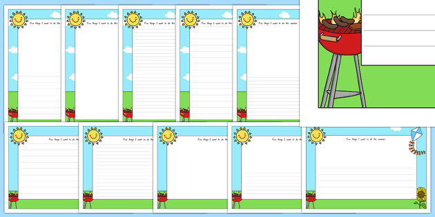Five Things I Want To do This Summer Writing Frames - nz, new