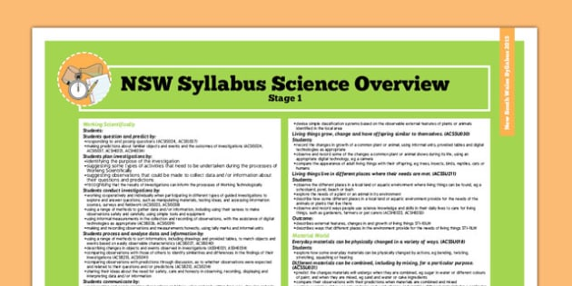 Australia NSW Syllabus Science Stage 1 Overview - australia