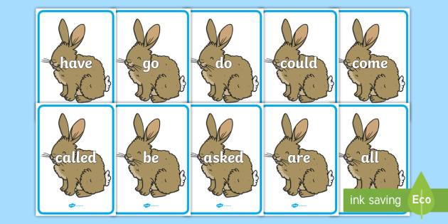 Tricky Words on Rabbit - Tricky words, DfES Letters and Sounds, Letters and sounds, display, words