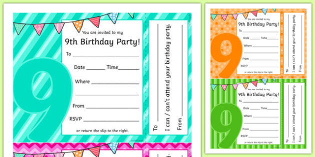 Editable 9th birthday party invitations stopboris