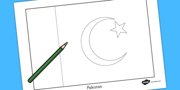 Pakistan Flag Colouring Sheet - countries, country, geography