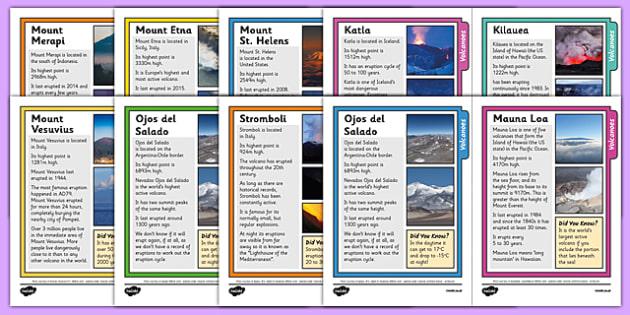 Volcano Fact Sheets - volcano, fact sheets, geography, fact, sheet