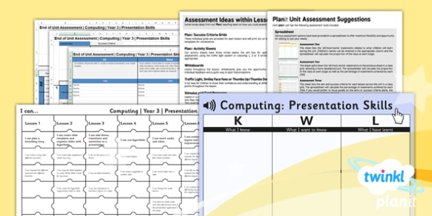 Computing: PowerPoint Presentation Skills Year 3 Unit Assessment Pack