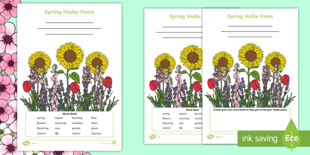 spring haiku poem differentiated worksheets poem poetry haiku syllables. Black Bedroom Furniture Sets. Home Design Ideas