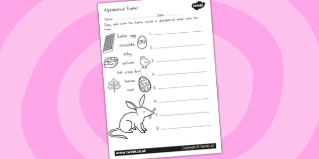 Easter Alphabet Ordering Worksheet - alphabet, a-z, order, RE