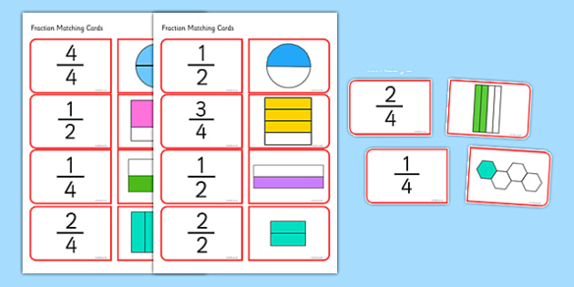 Halves and Quarters Matching Cards - halves, quarters, matching cards