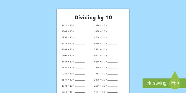 Dividing 4 Digit Numbers by 10 A5 Worksheet / Activity Sheet - dividing, 4 digit, numbers, by 10, activity, sheet, worksheet