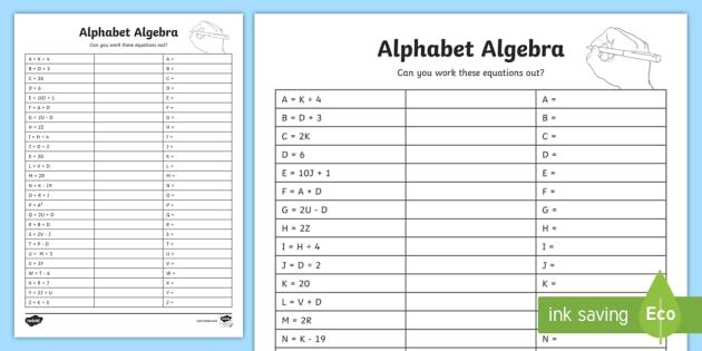 FREE! - Alphabet Algebra Worksheet - Primary Education Resources