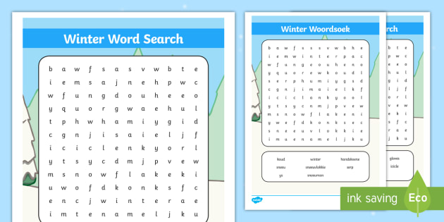 Winter Word Search English/Afrikaans
