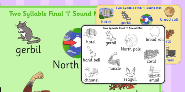 Two Syllable Final 'L' Sound Word Mat 2 - l sound, word mat, two
