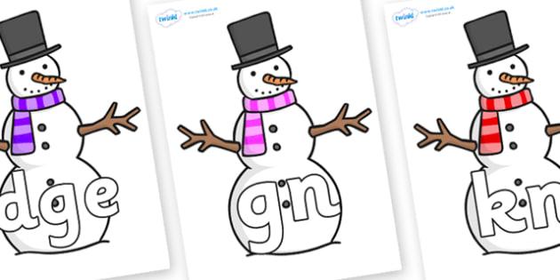 Silent Letters on Snowman - Silent Letters, silent letter, letter blend, consonant, consonants, digraph, trigraph, A-Z letters, literacy, alphabet, letters, alternative sounds