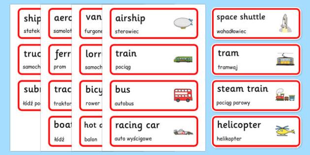 Transport Topic Word Cards Polish Translation - transport, vehicles, cars, buses, vocabulary, roads, Poland, Polish, EAl, bilingual