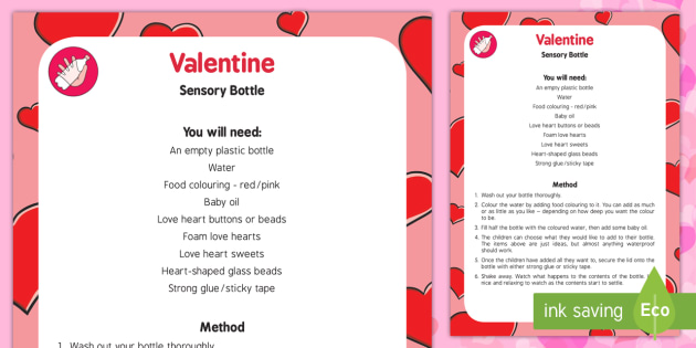 Valentine Sensory Bottle - Valentine, hearts, sensory, bottle, valentines day
