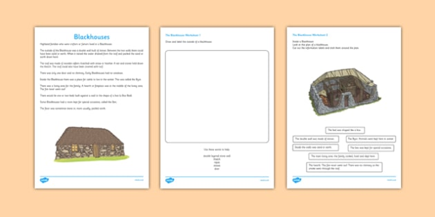 A Blackhouse Drawing and Labelling Worksheet / Activity Sheet - jacobite, blackhouse, drawing, labelling, worksheet / activity sheet, activity, sheet, worksheet