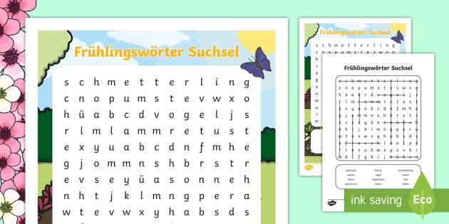 Frühlingswörter Suchsel - Frühling, Rätsel, Suchsel