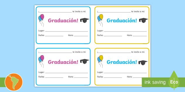 Invitación A Mi Graduación Tarjetas Informativas Fin De