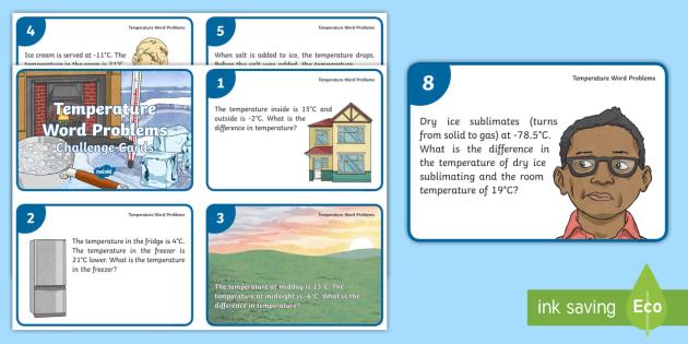 UKS2 Temperature Word Problems Maths Challenge Cards - interpret ...