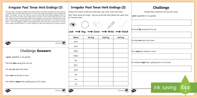 Year 2 Spelling Practice Irregular Past Tense Verb Endings (2 ...