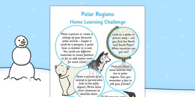 EYFS Polar Regions Home Learning Challenge Sheet Reception FS2 - EYFS planning, early years activities, homework, snow, arctic, antarctic, North Pole, South Pole