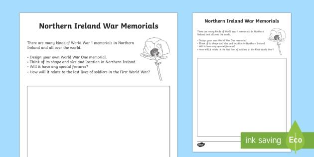 World War 1 Memorials in  Northern Ireland Read and Draw Activity Sheet