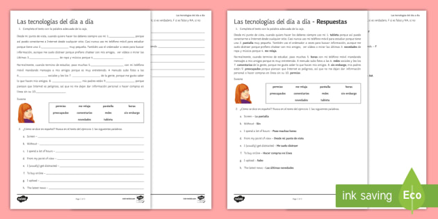 New Technologies Differentiated Reading Comprehension Worksheet / Worksheet