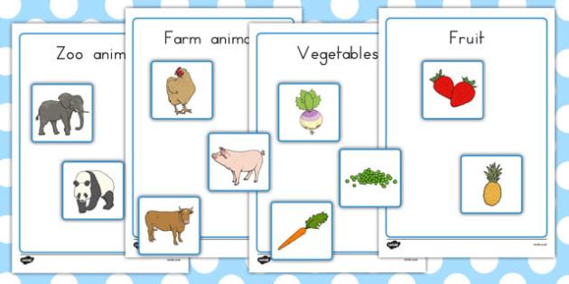Fruit Vegetables Farm Animals And Zoo Animals Sorting Activity No Visual Support - Australia, sort, organise, food, animals, KS1