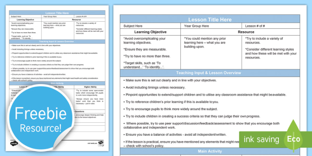Guided Secondary Lesson Plan Template Editable Proforma