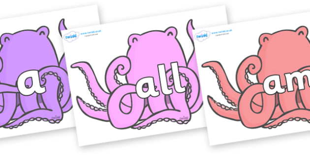 Foundation Stage 2 Keywords on Octopus to Support Teaching on The Rainbow Fish - FS2, CLL, keywords, Communication language and literacy,  Display, Key words, high frequency words, foundation stage literacy, DfES Letters and Sounds, Letters and Sound