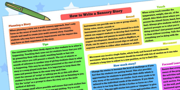 How to Write a Sensory Story Poster - sensory story, stories