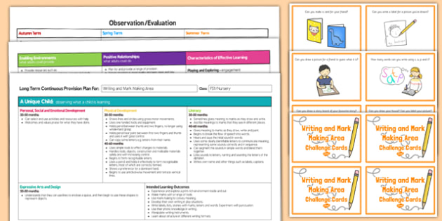 Writing and Mark Making Area Editable Continuous Provision Plan and Challenge Cards Pack Nursery FS1