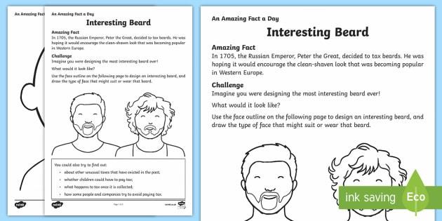 Interesting Beard Activity Sheet - Amazing Fact Of The Day, activity sheets, powerpoint, starter, morning activity, December , beards,