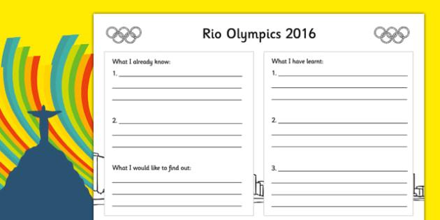 Rio Olympics 2016 Write Up Worksheet / Activity Sheet - rio olympics, 2016 olympics, rio 2016, write up, activity, worksheet