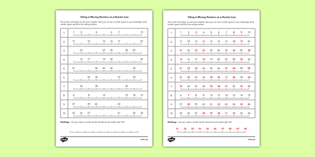 Filling In Missing Numbers on a Number Line to 50 Worksheet - maths, numeracy, ks2, home, learning, education, activity, sheet, work, assessment, challenge, fifty, sequence, add, subtract,