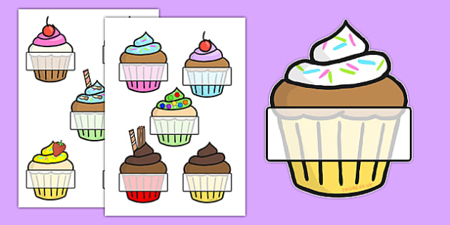 Editable SelfRegistration Cupcakes Self Registration - Cupcake name tag template