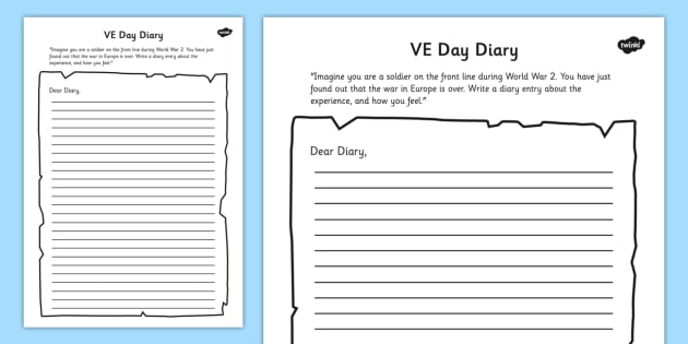 VE Day Diary Writing Template   Ve Day, Diary, Writing, Template  Diary Paper Template