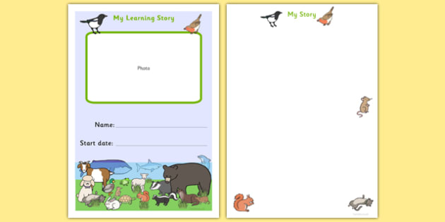 EYFS MY Learning Journey Front Cover Animal Themed - animals