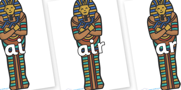 Phase 3 Phonemes on Sarcophagus - Phonemes, phoneme, Phase 3, Phase three, Foundation, Literacy, Letters and Sounds, DfES, display