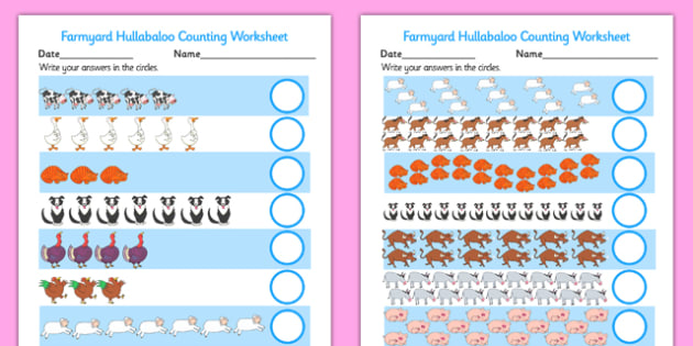 Counting Sheet to Support Teaching on Farmyard Hullabaloo - farm, counting, math, number
