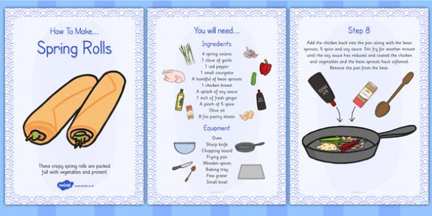 Crispy Spring Rolls Recipe Cards - spring rolls, recipe, cards