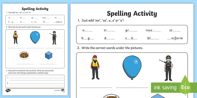 U-E Phonics Worksheets  : Long U Worksheets Free Word Work