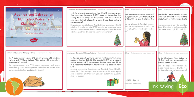 Addition And Subtraction Multistep Word Problems Christmas