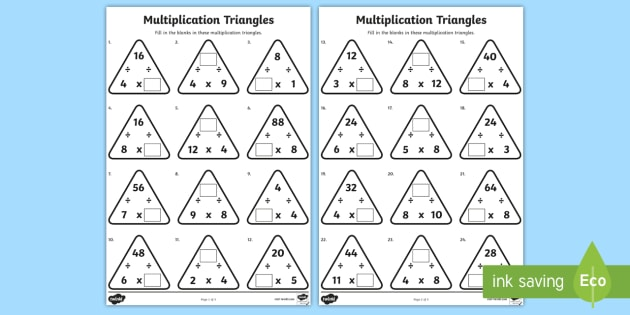 Multiplication Triangles 4 And 8 Times Tables Worksheet