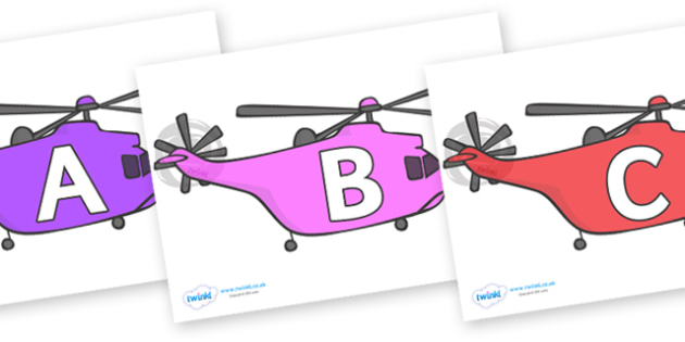 A-Z Alphabet on Helicopters - A-Z, A4, display, Alphabet frieze, Display letters, Letter posters, A-Z letters, Alphabet flashcards