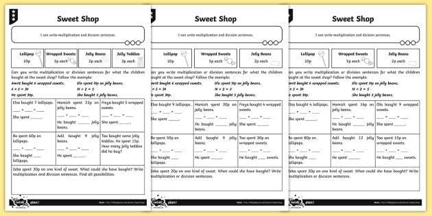 writing multiplication and division number sentences differentiated worksheet. Black Bedroom Furniture Sets. Home Design Ideas