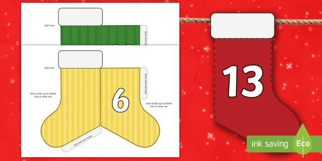 Christmas Advent Calendar Mini Stocking Bunting Numbers - advent
