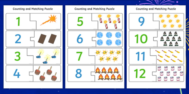 Bonfire Night Counting Puzzle - count, counting aid, fireworks