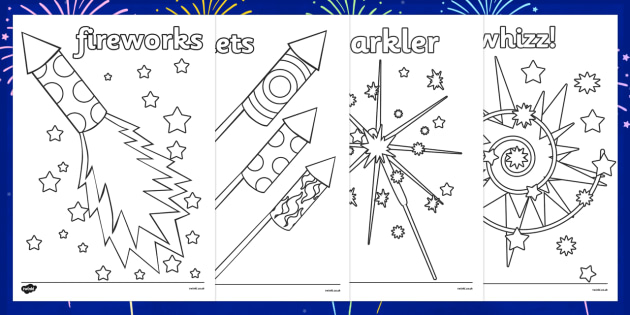 Fireworks / Bonfire Night Colouring Sheets - Bonfire night, colouring poster, colouring, fine motor skills, activity, Guy, Autumn, A4, display, firework, bang, crackle, woosh, rocket, sparkler, catherine wheel, screech, whirl, fire, bonfire, leaves