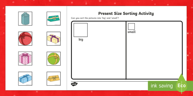 Present Size Sorting Worksheet / Activity Sheets